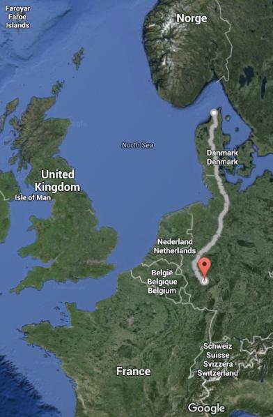 Dag 1-13 fra Hirtshals til Koblenz, totalt 1220 kilometer tilbakelagt! Foto: Google Maps.