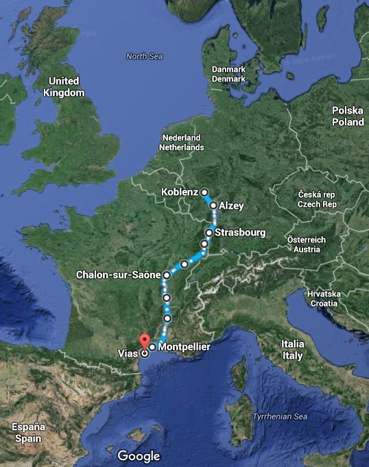Dag 14 til 28, Koblenz til Vias. Foto: Google Maps.