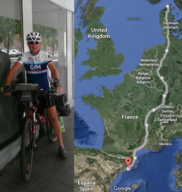 Fra Hirtshals til Barcelona. Totalt 33 dager og 3006 km. Foto: Privat og Google Maps.